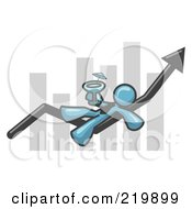 Royalty Free RF Clipart Illustration Of A Denim Blue Business Owner Man Relaxing On An Increase Bar And Drinking Finally Taking A Break