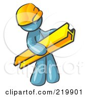 Royalty Free RF Clipart Illustration Of A Denim Blue Man Construction Worker Wearing A Hardhat And Carrying A Beam At A Work Site