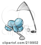 Royalty Free RF Clipart Illustration Of A Denim Blue Man Down On The Ground Trying To Blow A Golf Ball Into The Hole by Leo Blanchette