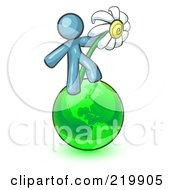 Royalty Free RF Clipart Illustration Of A Denim Blue Man Standing On The Green Planet Earth And Holding A White Daisy Symbolizing Organics And Going Green For A Healthy Environment