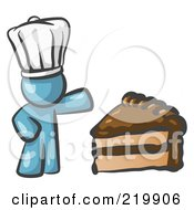 Royalty Free RF Clipart Illustration Of A Denim Blue Chef Man Wearing A White Hat And Presenting A Tasty Slice Of Chocolate Frosted Cake