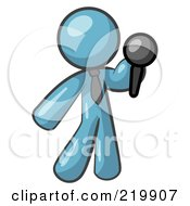 Denim Blue Man Standing On Stage And Holding A Microphone While Singing Karaoke Or Telling Jokes
