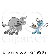 Royalty Free RF Clipart Illustration Of A Denim Blue Man Holding A Stool And Whip While Taming A Bull Bull Market
