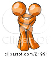 Clipart Picture Illustration Of An Orange Man Gently Embracing His Lover Symbolizing Marriage And Commitment
