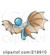 Royalty Free RF Clipart Illustration Of A Determined Denim Blue Man Strapped In Glider Wings Prepared To Make Flight