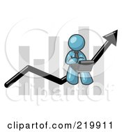 Royalty Free RF Clipart Illustration Of A Denim Blue Man Using A Laptop Computer Riding The Increasing Arrow Line On A Business Chart Graph