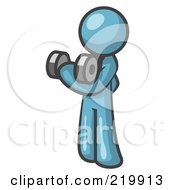 Royalty Free RF Clipart Illustration Of A Denim Blue Design Mascot Doing Bicep Curls