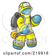Royalty Free RF Clipart Illustration Of A Denim Blue Fireman In A Uniform Fighting A Fire