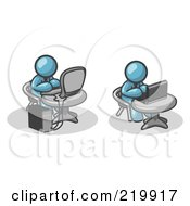 Royalty Free RF Clipart Illustration Of Two Orange Men Working On Computers In An Office