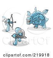 Royalty Free RF Clipart Illustration Of Two Denim Blue Men Working Together To Conquer An Obstacle A Dragon by Leo Blanchette