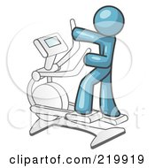 Royalty Free RF Clipart Illustration Of A Denim Blue Man Exercising On A Cross Trainer In A Gym