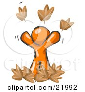 Happy Orange Man Tossing Up Autumn Leaves In The Air Symbolizing Happiness Freedom And Being Carefree