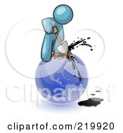 Royalty Free RF Clipart Illustration Of A Denim Blue Man Using A Shovel To Drill Oil Out Of Planet Earth by Leo Blanchette