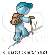 Royalty Free RF Clipart Illustration Of A Denim Blue Man Backpacking And Hiking Uphill by Leo Blanchette