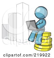Royalty Free RF Clipart Illustration Of A Denim Blue Man Sitting On Coins And Using A Laptop By A Bar Graph