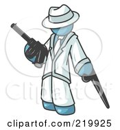 Royalty Free RF Clipart Illustration Of A Denim Blue Gangster Man Carrying A Gun And Leaning On A Cane
