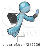 Royalty Free RF Clipart Illustration Of A Distracted Denim Blue Man Tripping On Steps While Texting On A Cell Phone