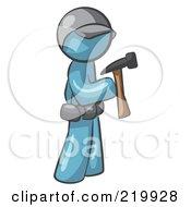 Royalty Free RF Clipart Illustration Of A Denim Blue Man Contractor Hammering