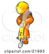 Orange Construction Worker Man Wearing A Hardhat And Operating A Yellow Jackhammer While Doing Road Work