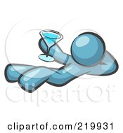 Royalty Free RF Clipart Illustration Of A Denim Blue Man Kicking Back And Relaxing With A Martini Beverage
