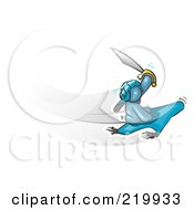 Royalty Free RF Clipart Illustration Of A Denim Blue Man Holding Up A Sword And Flying On A Magic Carpet by Leo Blanchette