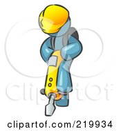 Royalty Free RF Clipart Illustration Of A Denim Blue Construction Worker Man Wearing A Hardhat And Operating A Yellow Jackhammer While Doing Road Work by Leo Blanchette