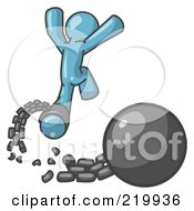 Royalty Free RF Clipart Illustration Of A Denim Blue Man Jumping For Joy While Breaking Away From A Ball And Chain Symbolizing Freedom From Debt Or Divorce