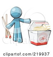 Denim Blue Man Design Mascot Holding Chopsticks By A Chinese Takeout Container
