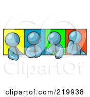 Royalty Free RF Clipart Illustration Of Four Denim Blue Men In Different Poses Against Colorful Backgrounds Perhaps During A Meeting by Leo Blanchette