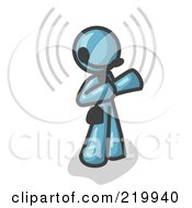 Royalty Free RF Clipart Illustration Of A Denim Blue Customer Service Representative Taking A Call With A Headset In A Call Center