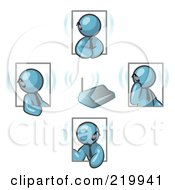 Royalty Free RF Clipart Illustration Of A Group Of Four Denim Blue Men Holding A Phone Meeting And Wearing Wireless Bluetooth Headsets