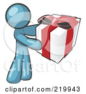 Royalty Free RF Clipart Illustration Of A Thoughtful Denim Blue Man Holding A Christmas Birthday Valentines Day Or Anniversary Gift Wrapped In White Paper With Red Ribbon And A Bow