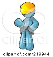 Royalty Free RF Clipart Illustration Of A Friendly Denim Blue Construction Worker Or Handyman Wearing A Hardhat And Tool Belt And Waving