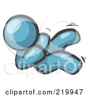 Royalty Free RF Clipart Illustration Of A Happy Denim Blue Man Rolling On The Floor And Giggling With Laughter