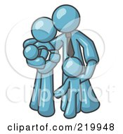 Royalty Free RF Clipart Illustration Of A Denim Blue Family Man A Father Hugging His Wife And Two Children