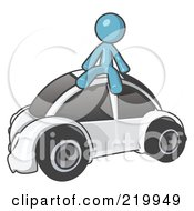 Royalty Free RF Clipart Illustration Of A Denim Blue Man Sitting On Top Of A Slug Bug