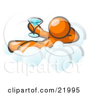 Relaxed Orange Man Drinking A Martini And Kicking Back On Cloud Nine