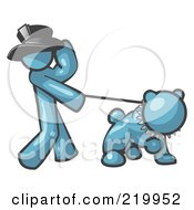 Royalty Free RF Clipart Illustration Of A Denim Blue Man Walking A Tough Bulldog On A Leash
