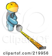 Royalty Free RF Clipart Illustration Of A Denim Blue Man Contractor Wearing A Hardhat Kneeling And Measuring