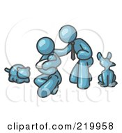 Royalty Free RF Clipart Illustration Of A Denim Blue Family Father Mother And Newborn Baby With Their Dog And Cat