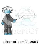 Royalty Free RF Clipart Illustration Of A Denim Blue Einstein Man Pointing A Stick At A Presentation Of A Flying Saucer