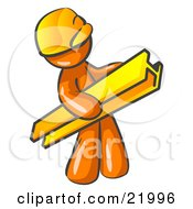 Orange Man Construction Worker Wearing A Hardhat And Carrying A Beam At A Work Site