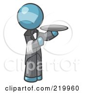 Royalty Free RF Clipart Illustration Of A Denim Blue Man Waiter Holding A Platter