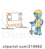 Royalty Free RF Clipart Illustration Of A Denim Blue Man Construction Worker In A Yellow Vest And Hardhat Holding A Shovel And Standing By A Road Block Sign