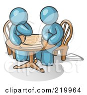 Royalty Free RF Clipart Illustration Of Two Denim Blue Businessmen Sitting At A Table Discussing Papers