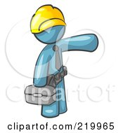 Royalty Free RF Clipart Illustration Of A Denim Blue Man A Construction Worker Handyman Or Electrician Wearing A Yellow Hardhat And Tool Belt And Carrying A Metal Toolbox While Pointing To The Right
