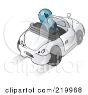 Royalty Free RF Clipart Illustration Of A Denim Blue Businessman Talking On A Cell Phone While Driving In A White Convertible Car