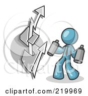 Royalty Free RF Clipart Illustration Of A Denim Blue Business Man Spray Painting A Graffiti Dollar Sign On A Wall