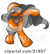 Clipart Picture Illustration Of An Orange Man In A Mask And Cape Stealing Belongings In A Bag by Leo Blanchette