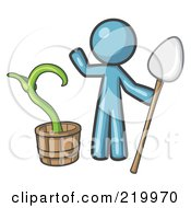 Royalty Free RF Clipart Illustration Of A Denim Blue Man Holding A Shovel By A Potted Plant